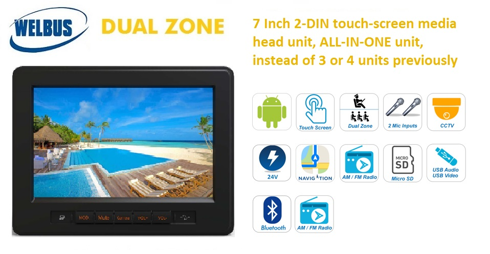 7 inch touch-screen Android-based multimedia head unit for buses and coaches